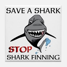 Stop Shark Finning Tile Coaster