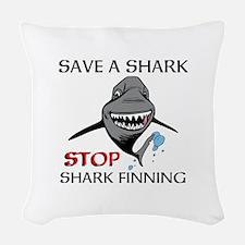 Stop Shark Finning Woven Throw Pillow