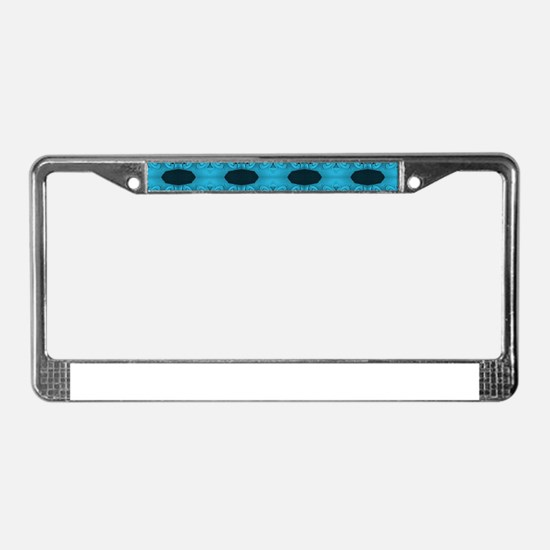 Turquoise Black Ribbons License Plate Frame