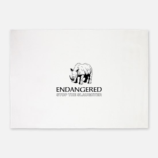 Endangered Rhino 5'x7'Area Rug