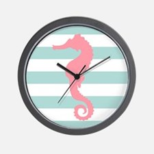Pink Seahorse on Mint Green Stripes Wall Clock