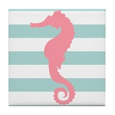 Pink Seahorse on Mint Green Stripes Tile Coaster