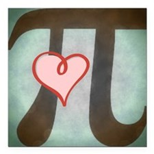 "Pi Love Large Square Car Magnet 3"" x 3"""