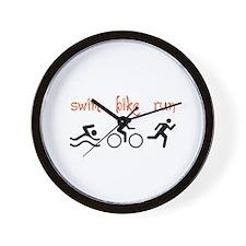 SWIM BIKE RUN Wall Clock