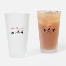 SWIM BIKE RUN Drinking Glass