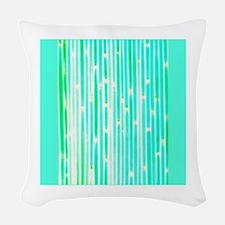 Green Blue Bamboo Dina's fave Woven Throw Pillow