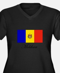 Moldova - Flag Women's Plus Size V-Neck Dark T-Shi