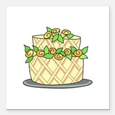 """CAKE WITH FLOWERS Square Car Magnet 3"""" x 3"""""""
