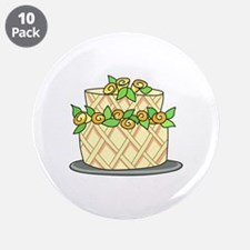 """CAKE WITH FLOWERS 3.5"""" Button (10 pack)"""