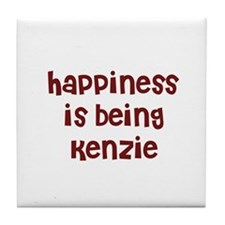 happiness is being Kenzie Tile Coaster