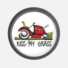 KISS MY GRASS Wall Clock