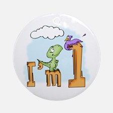 Dinosaur Fun 1st Birthday Ornament (Round)