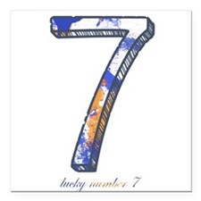 "Lucky number Square Car Magnet 3"" x 3"""