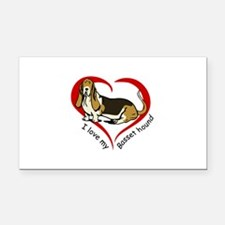 LOVE MY BASSET HOUND Rectangle Car Magnet