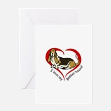 LOVE MY BASSET HOUND Greeting Cards