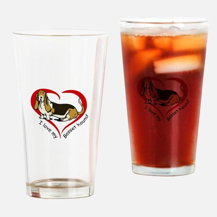 LOVE MY BASSET HOUND Drinking Glass
