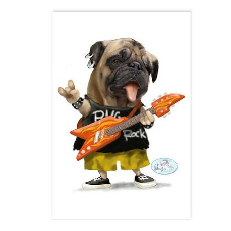 Pug Rocker Postcards (Package of 8)
