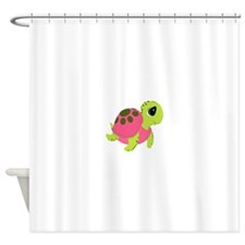 Pink Sea Turtle Shower Curtain