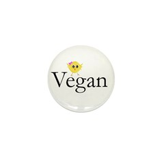 Vegan Chick Mini Button (10 pack)