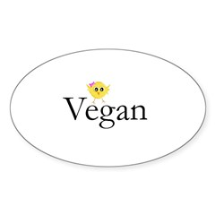 Vegan Chick Oval Decal