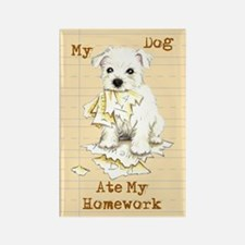 Westie Ate Homework Rectangle Magnet