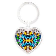 Glowing Glass Beaded Design Heart Keychain