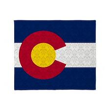 Colorado Flag Damask Pattern Throw Blanket