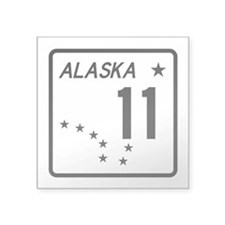 "Route 11, Alaska Square Sticker 3"" x 3"""