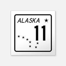 """Route 11, Alaska Square Sticker 3"""" x 3"""""""