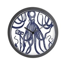 Ancient Octopus with Anchor Wall Clock
