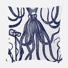 Ancient Octopus with Anchor Woven Throw Pillow