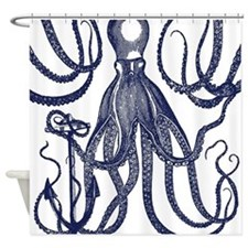 Ancient Octopus with Anchor Shower Curtain