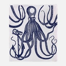 Ancient Octopus with Anchor Throw Blanket