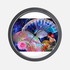 Fans and Roses Wall Clock