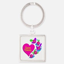Square Dancing Heart Square Keychain