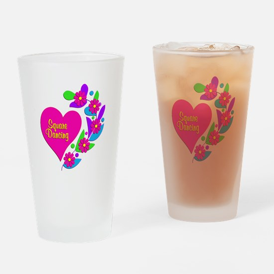 Square Dancing Heart Drinking Glass
