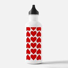Red Hearts Pattern Water Bottle