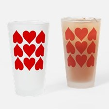 Red Hearts Pattern Drinking Glass