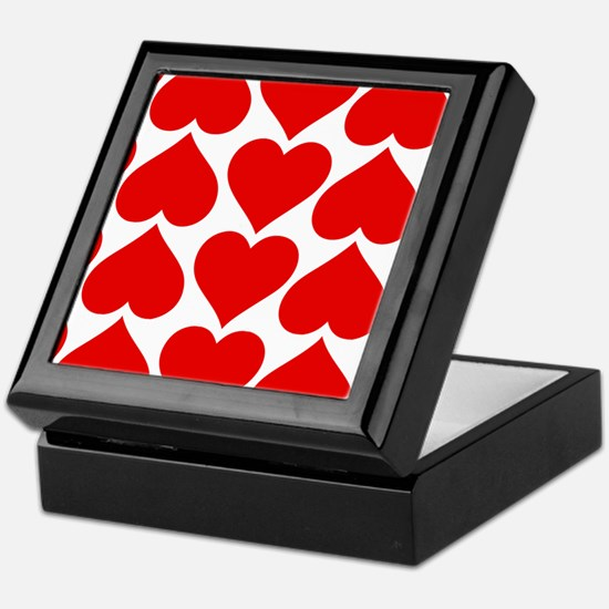 Red Hearts Pattern Keepsake Box