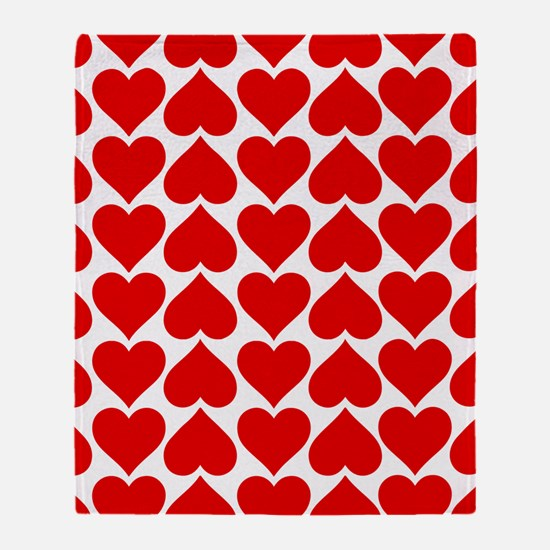 Red Hearts Pattern Throw Blanket