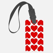 Red Hearts Pattern Luggage Tag
