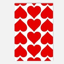 Red Hearts Pattern Postcards (Package of 8)