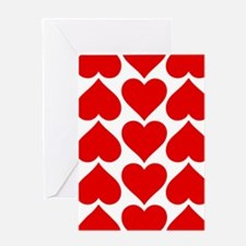 Red Hearts Pattern Greeting Card