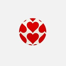 Red Hearts Pattern Mini Button