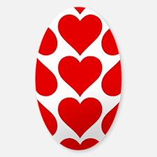Red Hearts Pattern Sticker (Oval)