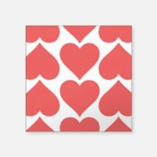 """Red Hearts Pattern Square Sticker 3"""" x 3"""""""