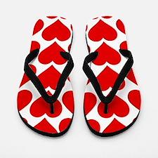Red Hearts Pattern Flip Flops