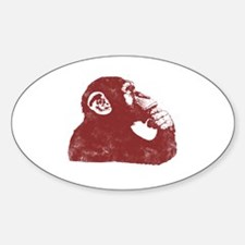 Thoughtful Monkey - Red Sticker (Oval)