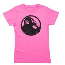 Thoughtful Monkey 2 - Black Girl's Tee