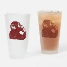 Thoughtful Monkey - Red Drinking Glass